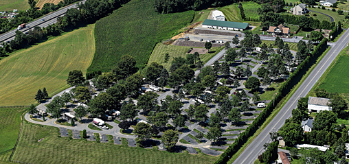 An aerial view of Pine Hill RV Park - Kutztown, Pennsylvania