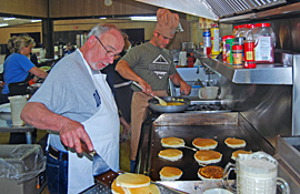 Making pancakes at Pine Hill RV Park - Kutztown, Pennsylvania