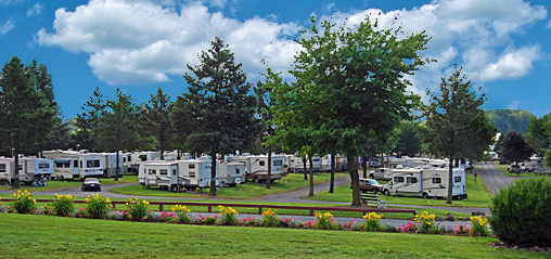 Site overview at Pine Hill RV Park - Kutztown, Pennsylvania
